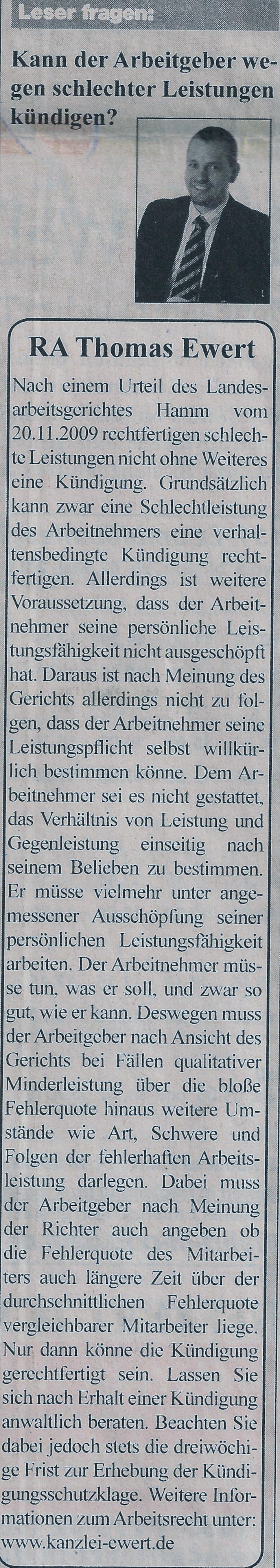 Rechtsanwalt Thomas Ewert Kann Der Arbeitgeber Wegen Schlechter