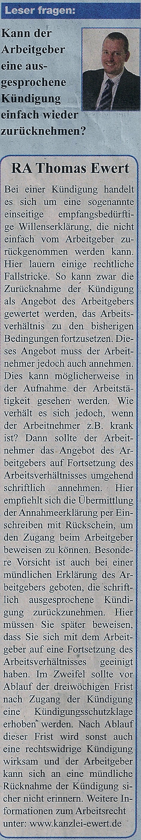 Rechtsanwalt Thomas Ewert Kann Der Arbeitgeber Eine